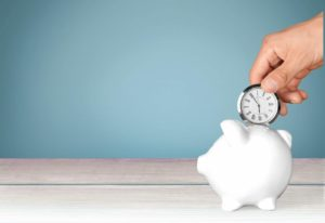 Time Savings Time is Money Clock Piggy Bank Investment Wealth